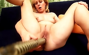 Kolo Blond Sticks A Big Dildo In Will not hear of Mature Old Pussy