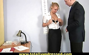 Nude job interview for sweet blonde pamper
