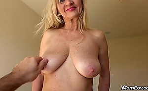 MomPov busty on the level Euro MILF gets facial