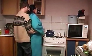 Boy Copulates Horny Housewife's In The Kitchenette